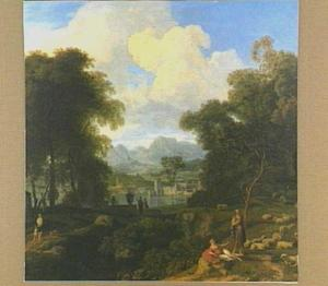 Arcadisch landschap met op de voorgrond twee herders en hun schapen, in de verte een stad
