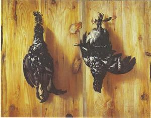 Trompe l'oeil met twee zwarte hanen