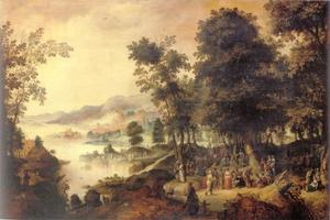 Bebost, bergachtig rivierlandschap met de prediking van Johannes de Doper