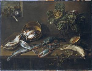 Keukenstilleven met vissen, kreeft, groenten en een kat