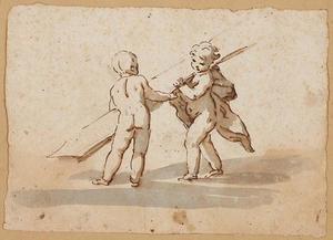 Twee naakte kinderen met het kruis