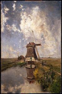 In de maand juli: een molen aan een poldervaart