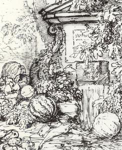 Stilleven van vruchten en vogels voor een fontein in een landschap