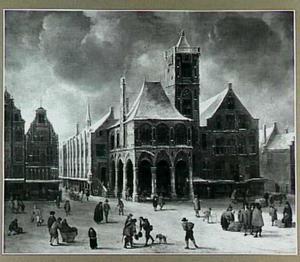 Het oude Stadhuis op de Dam te Amsterdam bij winter