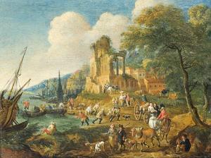 Vissers die hun vangst binnen halen, met reizigers op een pad, bij klassieke ruïnes en een stad in de verte