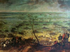 De slag bij Lützen nabij Leipzig, 6 november 1632, tussen Zweden onder koning Gustav Adolf en Oostenrijk onder Albrecht von Wallenstein