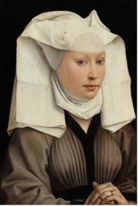 Portret van jonge vrouw met vleugelmuts