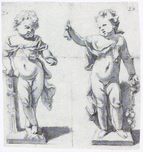 Twee ontwerpen voor tuinbeelden van een staand kind