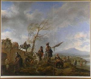 Landschap met vele figuren waaronder een vaandeldrager bij een doorwaadbare plaats