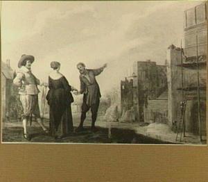 Man en vrouw betalen een bouwvakker; op de achtergrond links een uitdeling aan de kloosterpoort en rechts een huis in aanbouw