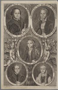 Portretten van Maarten Luther (1483-1546), Katharina von Bora (1499-1552), hun dochter en de ouders van Maarten Luther