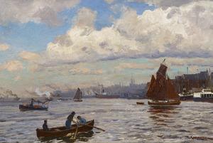 Gezicht op de haven van Hamburg