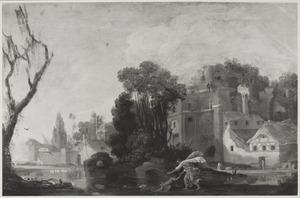 Landschap met gebouwen aan de waterkant, Tobias en de engel in de voorgrond