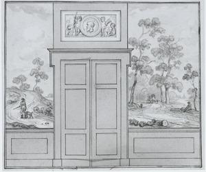 Ontwerp van een behangsel met heuvelachtig rivierlandschap ter weerszijden van een deur
