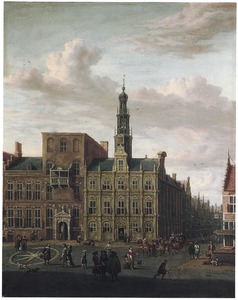 Gezicht op het stadhuis aan de Oudegracht te Utrecht