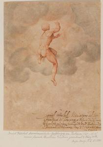 Allegorische voorstelling van een naakte man in de wolken