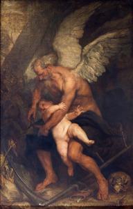 Chronos (de Tijd) knipt de vleugels van Cupido