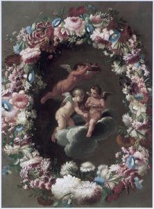 Drie engeltjes met vogelnestjes in een bloemenkrans
