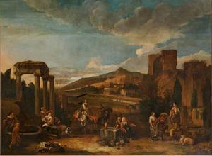 Italianiserend landschap met figuren, fonteinen en ruïnes