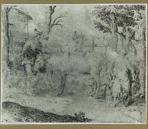 Landschap met boer, melkmeid en vee