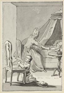 Illustratie voor 'Pietje bij het ziekbed van zijn zusjen' in de Kleine gedichten voor kinderen door H. van Alphen