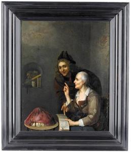 Jonge man en oude vrouw met boek en globe