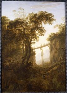 Berglandschap met houthakkers bij een hoge brug