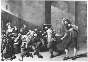 Slapende soldaten in een wachtlokaal