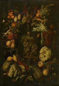 Cartouche stilleven met een allegorie van vruchtbaarheid