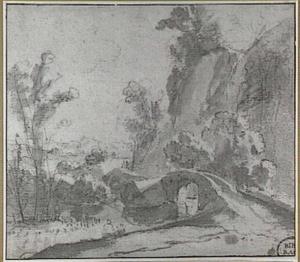 Rotslandschap met brug over een rivier