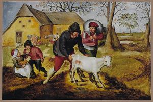 De lente: boeren met jong vee voor een boerderij