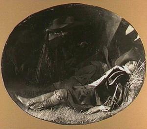 Slapende soldaat in het hooi