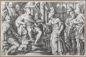 Philips II van Spanje ontvangt de corona obsidionalis van het eiland Malta als dank voor de opheffing van de Turkse belegering, 1565
