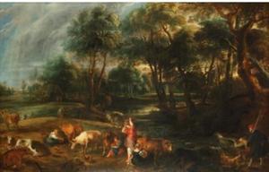 Bebost landschap met melkmeisjes, koeien en een eendenjager