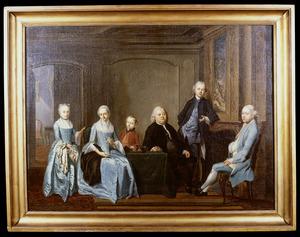 Portret van de familie Joan Calkoen (1708-1781) en Francina Geertruida Prins (1711-1769)