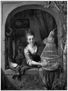 Een vrouw met dode haas en vogelkooi in een venster