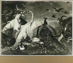Vechtende zwaan en hond omringd door andere dieren