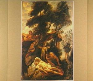 De slapende Antiope door Zeus, vermomd als sater, bespied