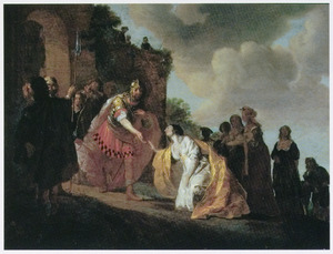 Volumnia en de Romeinse vrouwen smeken Coriolanus Rome te sparen