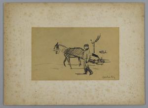 Schets van man met paard