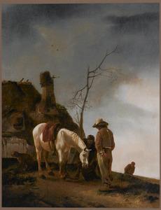 Schimmel en twee figuren voor een boerderij
