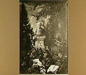 Mors omnia vincit: bosstilleven met vanitassymbolen rond een standbeeld