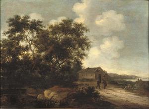 Landschap met twee figuren op een weg langs een boerderij
