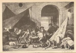 Gezelschap mannen bij tenten en wapentuig op een binnenplaats