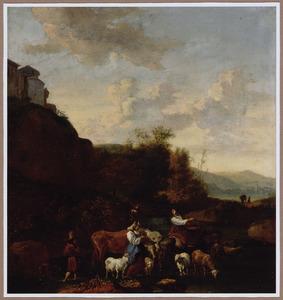 Herderinnen en hun kudde bij een drenkplaats in een zuidelijk landschap