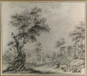 Heuvellandschap met grote boom, fantasie-architectuur en figuren