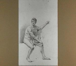 Studie van een naakte zittende man