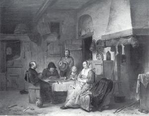 Interieur met biddende familie