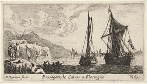 Veerboten naar Vlissingen op de rede van Calais