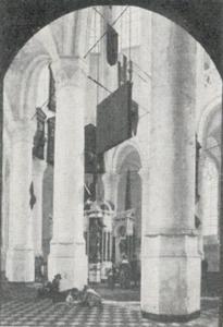 Interieur van de Nieuwe Kerk in Delft met het graf van Willem van Oranje